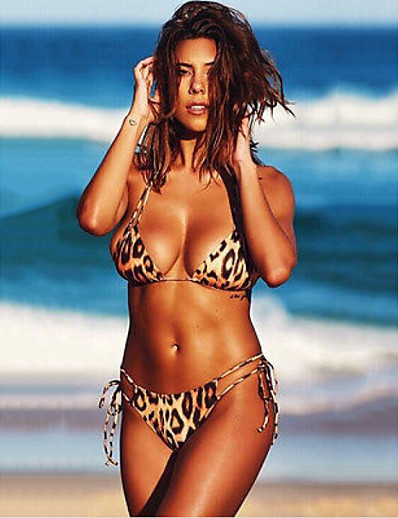 cheap SWIMSUIT-Women's Basic Brown Halter Cheeky Bikini Swimwear Swimsuit - Leopard Backless S M L Brown