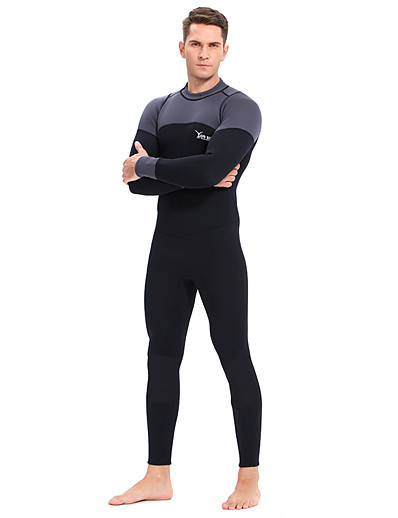 cheap Surfing, Diving & Snorkeling-YON SUB Men's Full Wetsuit 3mm CR Neoprene Diving Suit Thermal / Warm Waterproof Zipper Long Sleeve Back Zip - Diving Water Sports Patchwork Autumn / Fall Spring Winter / Micro-elastic