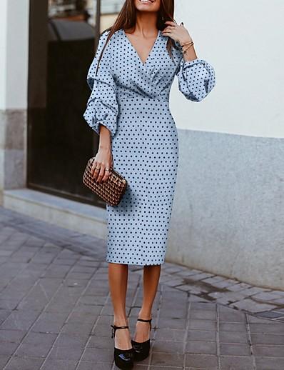 cheap Elegant Dresses-Women's A-Line Dress Midi Dress - 3/4 Length Sleeve Polka Dot Spring & Summer V Neck 2020 Blue S M L XL