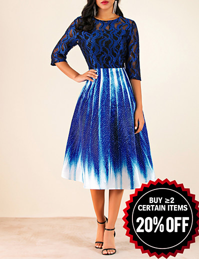 cheap Party Dresses-Women's A Line Dress - Geometric Lace Royal Blue M L XL XXL