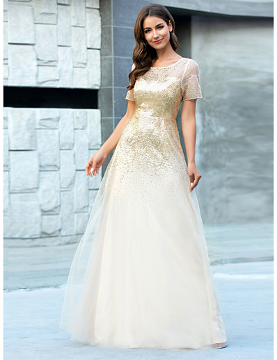 cheap Bridesmaid Dresses-A-Line Jewel Neck Floor Length Tulle Bridesmaid Dress with Sequin / Sparkle & Shine