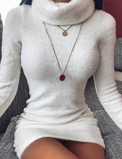 cheap Casual Dresses-Women's Crochet Daily Wear Casual Basic Loose Sweater Dress - Solid Colored Knitted Turtleneck White S M L XL