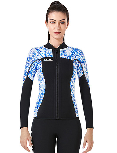 cheap Rash Guards-Dive&Sail Women's Wetsuit Jacket 3mm CR Neoprene Diving Suit Top Thermal / Warm Anatomic Design High Elasticity Long Sleeve Back Zip - Diving Water Sports Patchwork Autumn / Fall Spring Winter