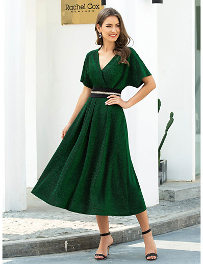 cheap Evening Dresses-A-Line V Neck Tea Length Polyester / Nylon / Spandex Elegant / Green Wedding Guest / Cocktail Party Dress with Pleats / Beading 2020