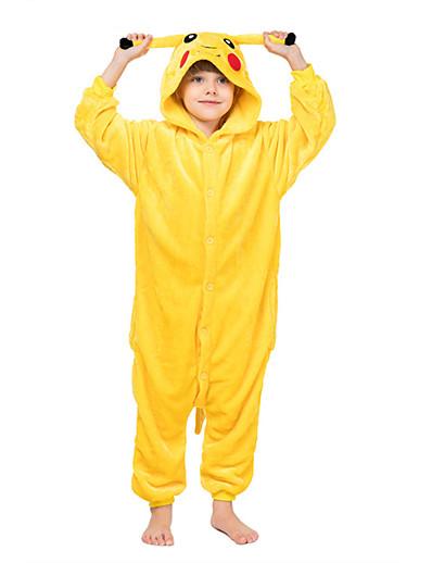 cheap Kigurumi Pajamas-Kigurumi Pajamas Nightwear Camouflage Kid's Animal Pika Pika Onesie Pajamas Coral fleece Yellow Cosplay For Boys and Girls Animal Sleepwear Cartoon Festival / Holiday Costumes / Leotard / Onesie