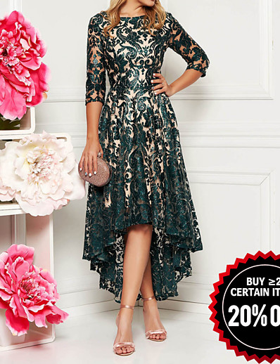 cheap Elegant Dresses-Women's Party Evening Elegant Asymmetrical A Line Dress - Lace Printing Lace All Seasons Lace Green M L XL XXL / Slim