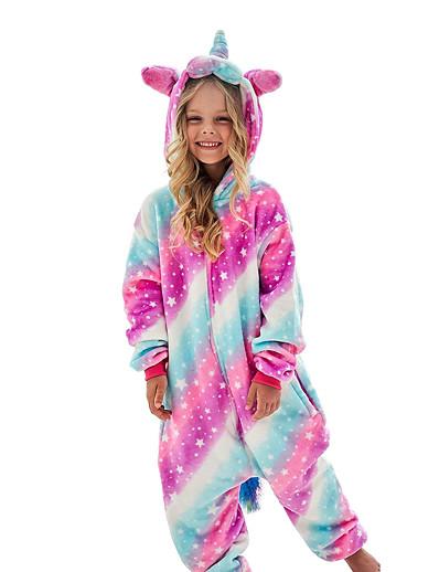 cheap Kigurumi Pajamas-Kid's Kigurumi Pajamas Unicorn Flying Horse Onesie Pajamas Flannel Fabric White+Blue / Blue / Pink Cosplay For Boys and Girls Animal Sleepwear Cartoon Festival / Holiday Costumes / Leotard / Onesie
