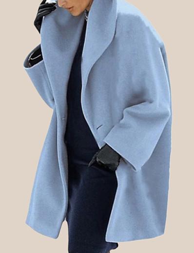 abordables Manteaux & Trenchs Femme-Femme Manteau Longue Couleur Pleine Quotidien Blanche Noir Violet S M L