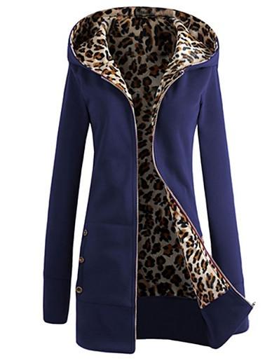 cheap BEST SELLERS-Women's Long Hoodie Jacket - Solid Colored / Leopard Dark Blue L / Winter
