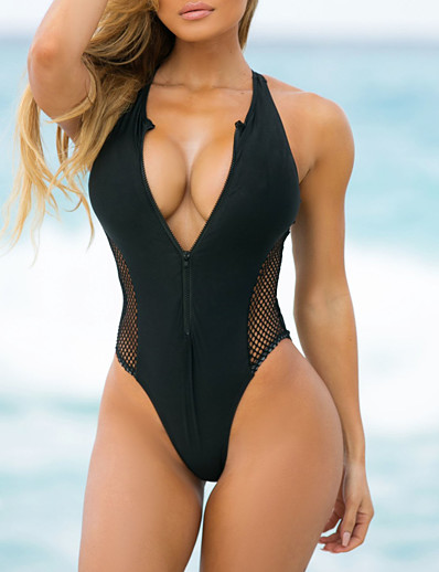 cheap New in Swimwear-Women's Triangle Sexy Boho One-piece Swimsuit Mesh Slim Zipper Color Block Plunging Neck Swimwear Bathing Suits Black Blue Red / Padded Bras