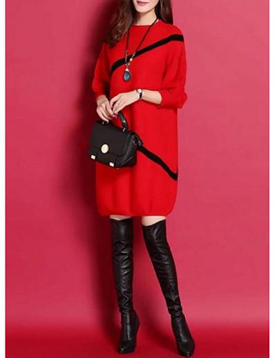 cheap BEST SELLERS-Women's Daily Wear Street chic Sweater Dress - Striped Black Red M L XL XXL