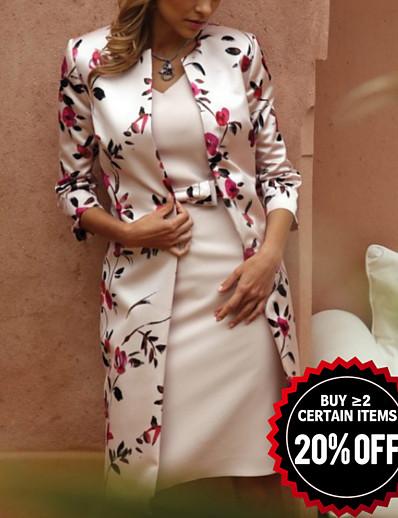 cheap Mother Dresses-Women's Elegant Slim Two Piece Dress - Floral Lace V Neck Lace Beige M L XL XXL