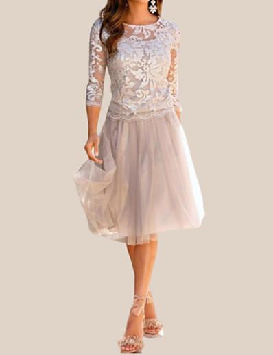 cheap Elegant Dresses-Women's Cocktail Party Elegant A Line Dress - Solid Colored Lace Lace Beige M L XL XXL / Slim