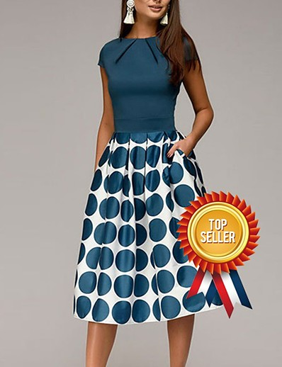 cheap Dresses-Women's Going out 1950s Elegant A Line Sheath Swing Dress - Polka Dot Geometric Print Ruched Patchwork Print Black Blue Red S M L XL