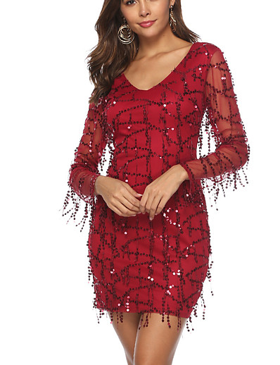 cheap Elegant Dresses-Women's Basic Bodycon Sheath Dress - Solid Colored Sequins Tassel Fringe Wine S M L XL