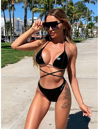 cheap Bikini Sets-Women's Basic Black Halter Briefs Tankini Swimwear - Solid Colored Lace up S M L Black