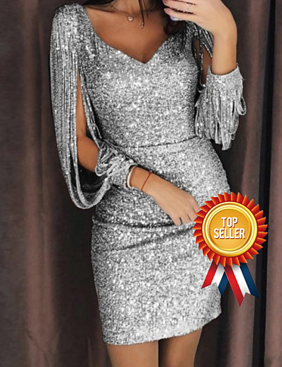 cheap Best Sellers-Women's Split Party Cocktail Party New Year Glitters Sexy Split Sleeve Slim Bodycon Dress - Solid Color Sequins Deep V V Neck Black Silver Yellow S M L XL