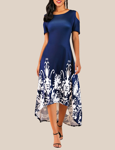 cheap High Low Dresses-Women's Plus Size Daily Casual Basic High Low Cold Shoulder Swing Dress - Floral Flower Cut Out Floral Print Black Wine Navy Blue L XL XXL XXXL Belt Not Included