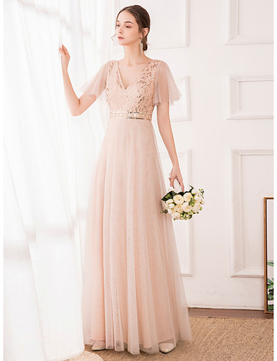 cheap WEDDING-A-Line V Neck Floor Length Tulle / Sequined Bridesmaid Dress with Sequin
