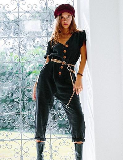 abordables VÊTEMENTS-Femme Noir Blanche Rose Claire Combinaison-pantalon Combinaison, Couleur Pleine S M L