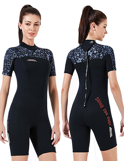 cheap SWIMWEAR-Dive&Sail Women's Shorty Wetsuit 1.5mm CR Neoprene Diving Suit Thermal / Warm Anatomic Design High Elasticity Short Sleeve Back Zip - Diving Water Sports Patchwork Autumn / Fall Spring Winter