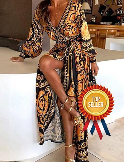 cheap Maxi Dresses-Women's Boho Holiday Going out Boho Asymmetrical Swing Dress - Print Patchwork Print Wrap Deep V Yellow S M L XL