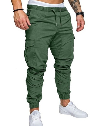 cheap Men's Bottoms-Men's Streetwear Chinos Pants Solid Colored Full Length Drawstring Black Khaki Green