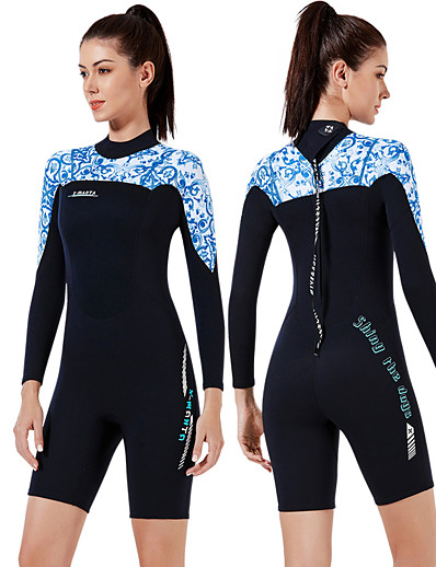 cheap Rash Guards-Dive&Sail Women's Shorty Wetsuit 3mm CR Neoprene Diving Suit Thermal / Warm Anatomic Design High Elasticity Long Sleeve Back Zip - Diving Water Sports Patchwork Autumn / Fall Spring Winter