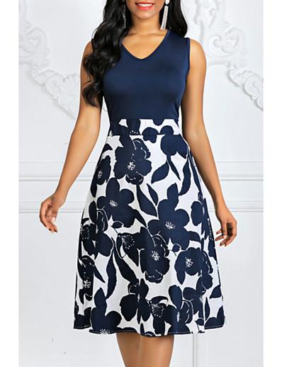 cheap Summer Dresses-Women's Plus Size A-Line Dress Sleeveless Polka Dot Floral Print Print Summer 1950s Vintage Going out Navy Blue Rainbow S M L XL XXL