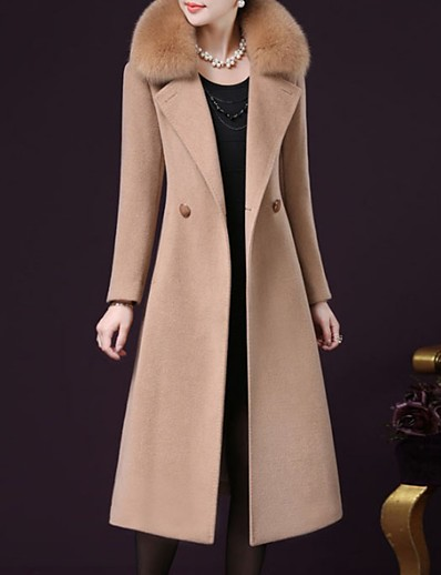cheap BEST SELLERS-Women's Going out Fall / Winter Plus Size Maxi Coat, Solid Colored Long Sleeve Cashmere / Polyester Black / Wine / Fuchsia