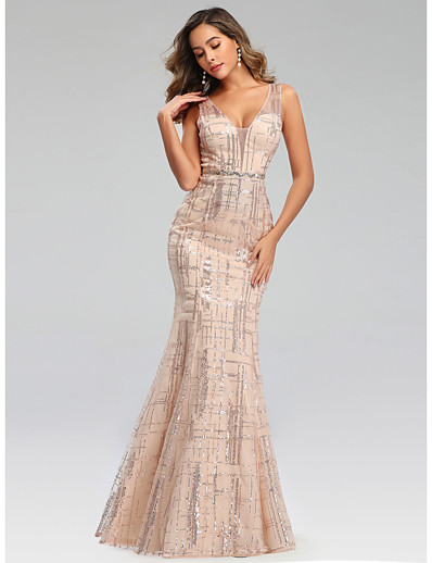 cheap DRESSES-Mermaid / Trumpet Plunging Neck Floor Length Polyester Sparkle / Elegant Prom / Formal Evening / Wedding Guest Dress 2020 with Sequin