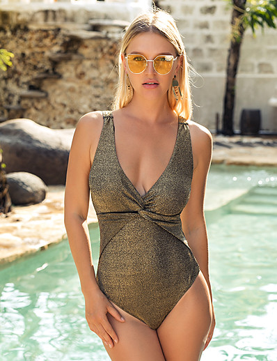 cheap SWIMWEAR-Women's Basic Boho Gold Triangle Cheeky One-piece Swimwear Swimsuit - Solid Colored Backless S M L Gold