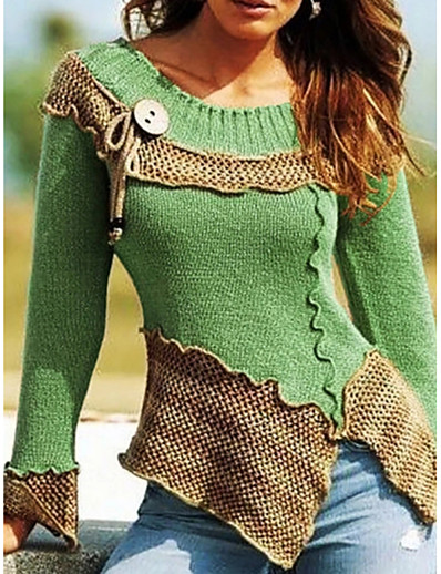 cheap TOPS-Women's Color Block Long Sleeve Pullover Sweater Jumper, Round Neck Red / Green / Blue S / M / L