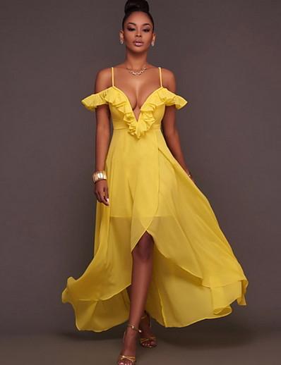 cheap Elegant Dresses-Women's Asymmetrical A Line Dress - Sleeveless Solid Color Strap Yellow S M L XL