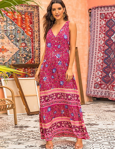 cheap Summer Dresses & Boho-Women's Maxi A Line Dress - Sleeveless Polka Dot V Neck Red S M L XL