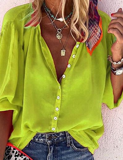 abordables Meilleures Ventes-Femme Couleur Pleine Tee-shirt Quotidien Col en V Blanche / Noir / Bleu / Rouge / Orange / Vert / Bleu Marine