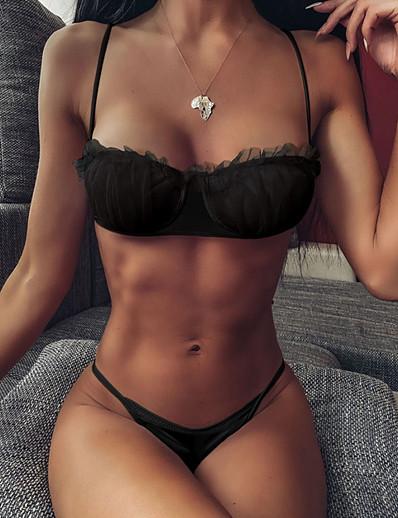 cheap FB-SWIMWEAR-Women's Black Bikini Swimwear - Solid Colored S M L Black