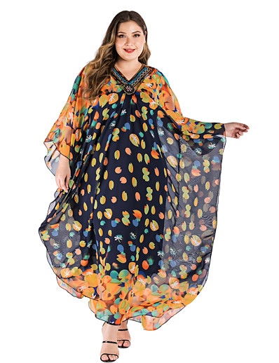 cheap SWIMSUIT-Women's Maxi Plus Size Yellow Dress Beach Style Daily Wear Loose Mosaic Printing V Neck Printing One-Size Loose / Belt Not Included