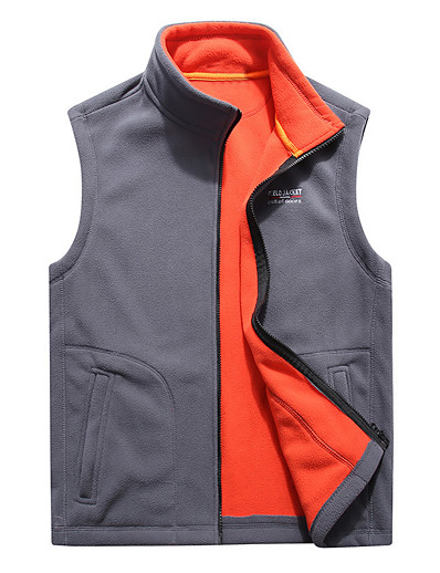 cheap SPORTSWEAR-Men's Hiking Fleece Vest Winter Outdoor Solid Color Windproof Fleece Lining Warm Comfortable Vest / Gilet Jacket Top Fleece Single Slider Climbing Camping / Hiking / Caving Winter Sports Black Blue
