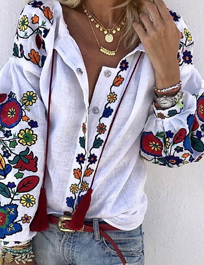 cheap SALE-Women's Floral Loose Shirt Daily V Neck White
