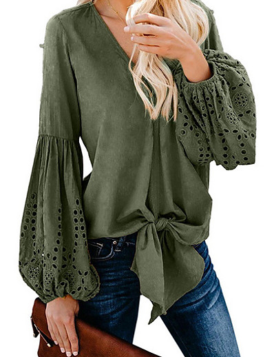 cheap Blouses & Shirts-Women's Daily Shirt - Solid Colored Black