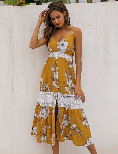 cheap Summer Dresses & Boho-Women's Sheath Dress - Sleeveless Geometic V Neck Yellow S M L XL