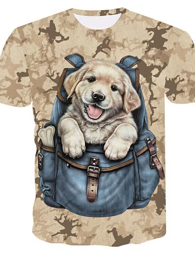 cheap TOPS-Women's Daily Basic T-shirt - 3D / Animal Dog Khaki