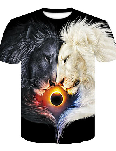 cheap TOPS-Women's Daily Basic T-shirt - 3D / Animal Print Rainbow