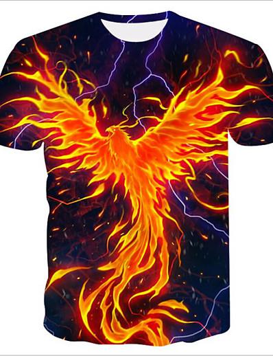cheap TOPS-Women's Daily Basic T-shirt - 3D / Flame Print Orange
