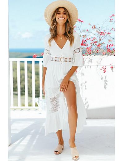 cheap Boho Dresses-Women's A-Line Dress Midi Dress - Half Sleeve Solid Color Spring & Summer V Neck 2020 White S M L XL