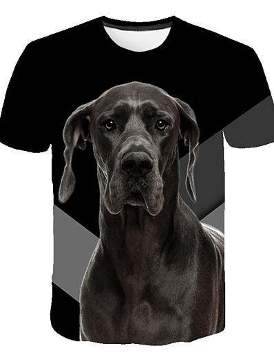 cheap Men's 3D-Men's T shirt Geometric Plus Size Print Short Sleeve Daily Tops Basic Streetwear Black