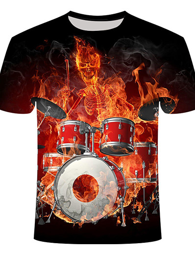 cheap Men's 3D-Men's T shirt Shirt Geometric Plus Size Print Short Sleeve Daily Tops Basic Streetwear Round Neck Black