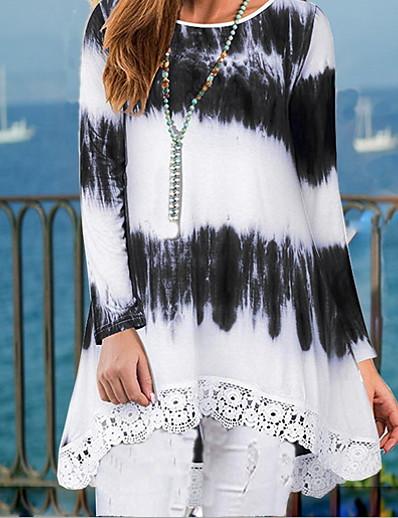 cheap TOPS-Women's Daily T-shirt - Color Block Black