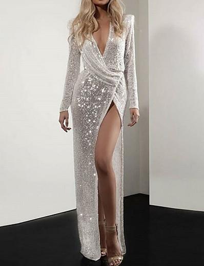 cheap Party Dresses-Women's Elegant Sheath Dress - Solid Colored Silver S M L XL